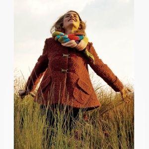 Anthro Amaranth Boucle Swing Loose Wool Coat sz S